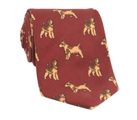 Silk Print Dog Motif Tie in Brick