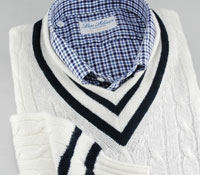Navy and White Cashmere Tennis Sweater