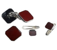 Sterling Silver & Burgundy Enameled Cufflink and Stud Sets