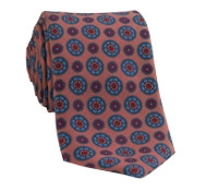 Silk Printed Madder Tie With Medallion Motif in Spice