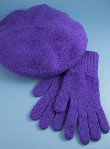 Cashmere Beret and Gloves in Lilac