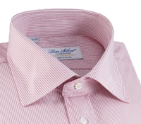 Pink and White Hairline Stripe Spread Collar
