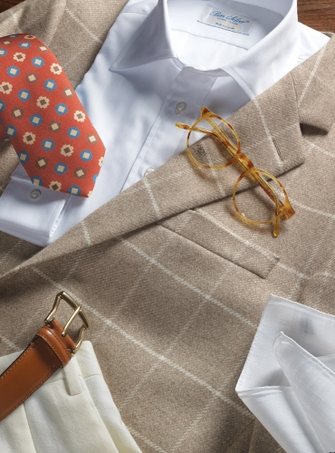 Nut Cashmere Sport Coat With Cream Windowpane