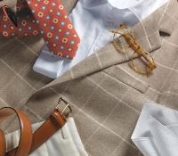 Nut Cashmere Sport Coat With Cream Windowpane