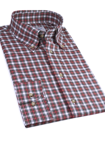 Red and White Tartan Button Down