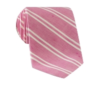 Linen and Cotton Double Stripe Tie in Strawberry