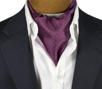 Silk Print Ascot with Small Flower Motif in Red