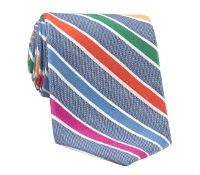 Silk and Linen Multi Stripe Tie in Denim