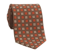 Silk Print Neat Square Tie in Mahogany with Orange
