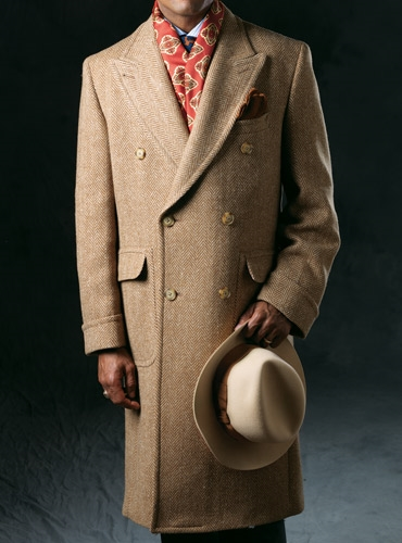 Cream and Tan Herringbone Tweed Polo Coat