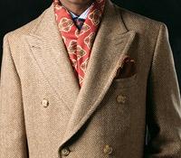 Cream and Tan Herringbone Tweed Polo Coat