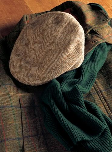 Wool Garforth Cap in Cream and Rust Broken Bone