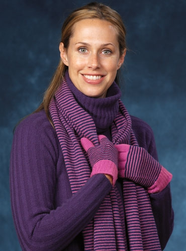 Cashmere Gloves in Pink & Denim