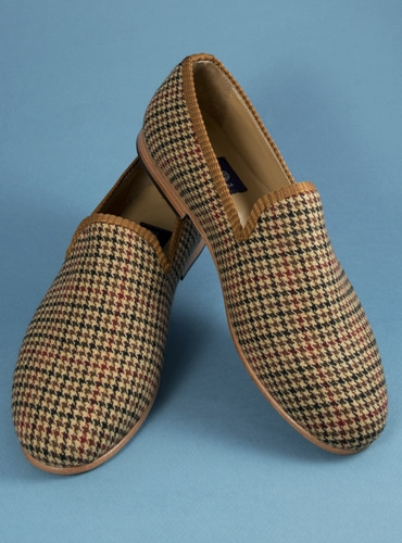 Brown and Red Houndstooth Loafers