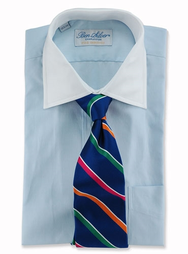 Woven Multi Stripe Tie in French Blue