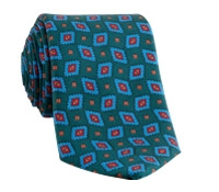 Silk Printed Diamond Tie in Bottle Green