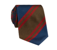 Silk Woven Striped Tie in Mocha and Royal