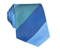 Silk Block Stripe Tie in Juniper, Sky and Navy
