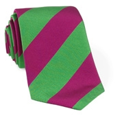 Woven Block Stripe Tie Magenta and Green