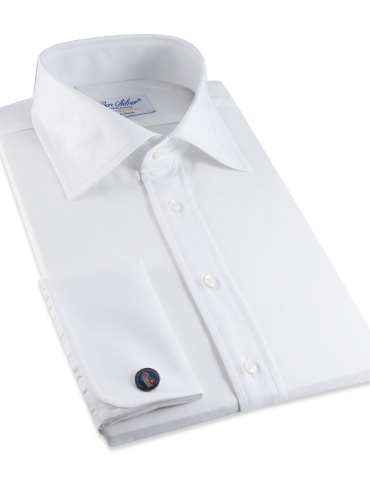 Classic White Twill Spread Collar with French Cuffs