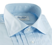 Blue Pleated Tuxedo Shirt