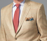 Sand and Cream Glen Plaid Sport Coat with Red and Blue Horizontal Deco