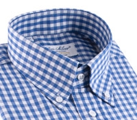 Blue Gingham Check Button Down