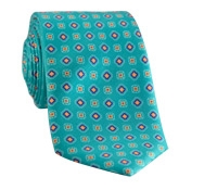 Silk Print Diamond and Square Motif Tie in Jade