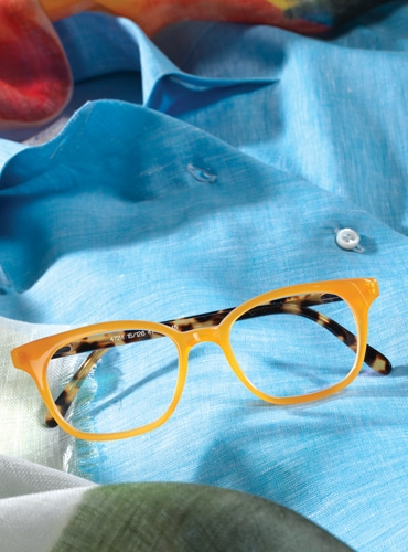 Slender Tip Frame in Orange with Tortoise Temples