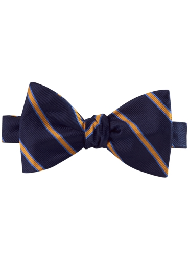Silk Stripe Bow Tie in Navy and Marigold