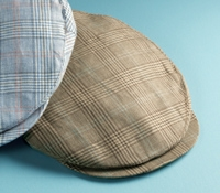 Wool and Linen Helmsley Cap in Nutmeg Glen Plaid
