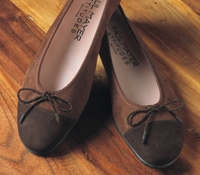 Ladies Suede Flats in Chocolate