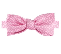 Silk Printed Dots Bow Tie in Pink