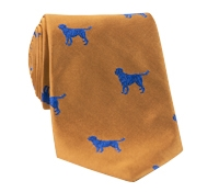 Silk Woven Tie with a Labrador Motif in Marigold with Azure