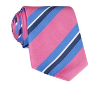 Silk Woven Multi-Stripe Tie in Rose