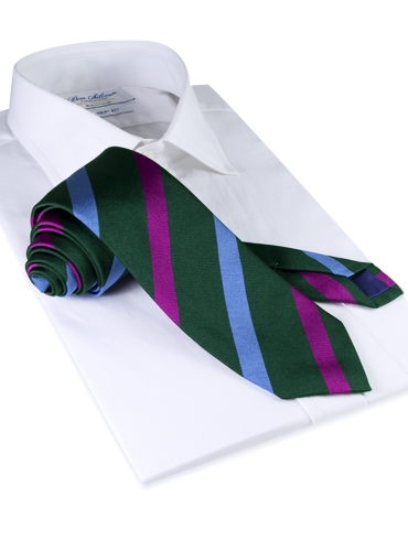 Silk Multi Stripe Tie in Forest