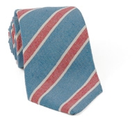 Linen and Silk Striped Tie Navy/Red