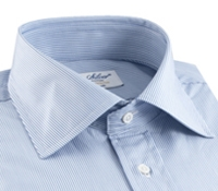 Blue & White Pinstripe Spread Collar