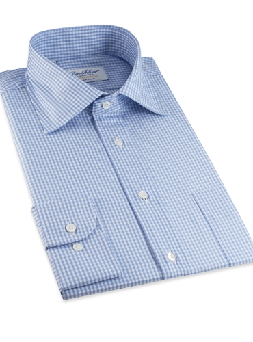 Blue & White Small Grid Check Spread Collar