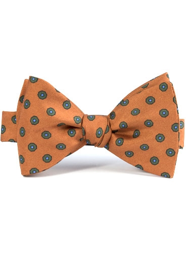 Silk Print Bow with an Octagon Motif in Oak