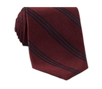 Silk Triple Stripe Tie in Cranberry
