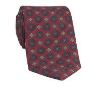 Wool Printed Medallion Motif Tie in Chianti