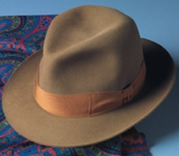 Barbisio Rabbit Fur Felt Fedora in Nutmeg