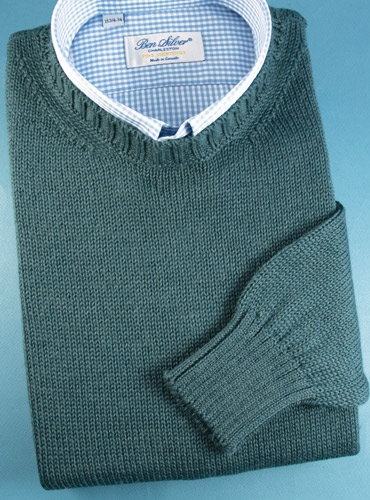 Alpaca and Silk Crewneck Sweater in Teal