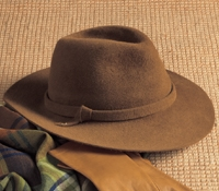 Ladies Felt Fedora in Caramel