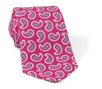 Linen and Silk Paisley Tie Pink