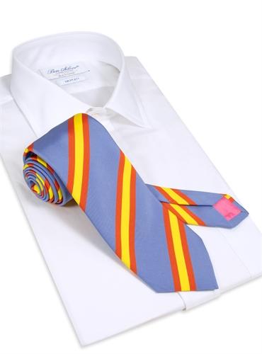 Silk Stripe Tie in Cornflower
