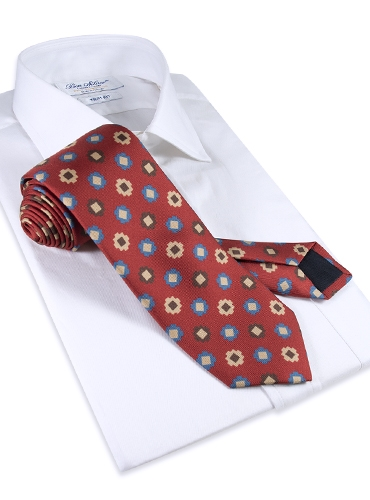Silk Geometric Motif Tie in Chili