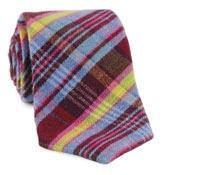 Claret Plaid Cotton/Wool Tie