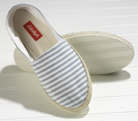 White and Blue Bengal Stripe Canvas Espadrilles with Rubber Soles